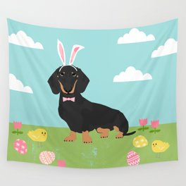 Dachshund dog breed easter pet portrait dog breed gifts pure breed dachsie doxie black and tan Wall Tapestry