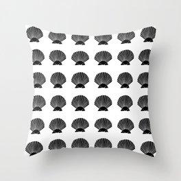 Black Seashell Throw Pillow