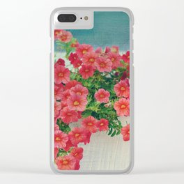Painterly Summer Floral Coral Red Million Bells in Beachy Window Box Clear iPhone Case