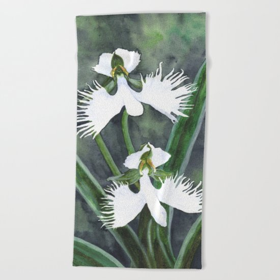 Habenaria radiata orchids Beach Towel