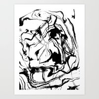 Marbled black and white suminagashi abstract painting japanese spilled ink Art Print