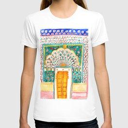 Jaipur Pink Peacock Door Watercolor City Palace Rajasthan India T-shirt