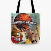 donald duck Tote Bags featuring Donald Duck by Marina Poison
