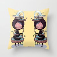 suit Throw Pillows featuring Bath Suit by Kensausage