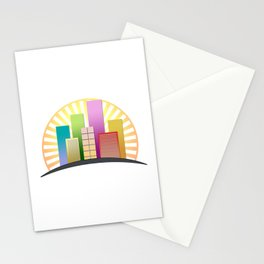 Colorful skyscrapers buildings with sun shining Stationery Cards