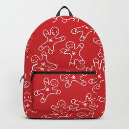 Sweet Red White Christmas Ginger Bread Man Backpack