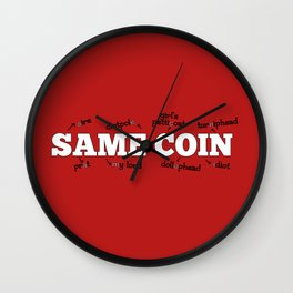 Same Coin - Red Wall Clock