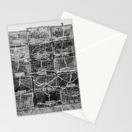 Lobster Pots in Black and White New England Fishing Dock Kennebunkport Maine Atlantic Coast Stationery Cards