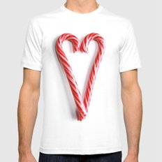 Candy Cane Heart Mens Fitted Tee MEDIUM White