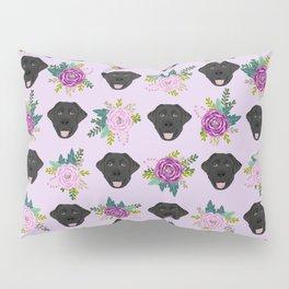 Black lab florals labrador retriever dog breed pet friendly pattern flowers bouquet Pillow Sham