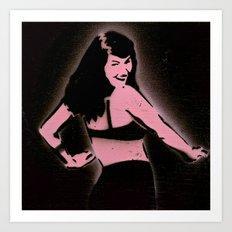 Bettie Paige Stencil Print Art Print