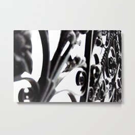 Black and White Abstract Patterned Metal Gate Design Metal Print