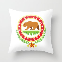 California Certified Stereotypes Flag Throw Pillow