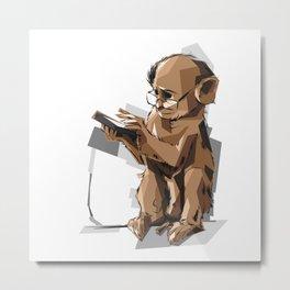 Baby Monkey Text'n Metal Print
