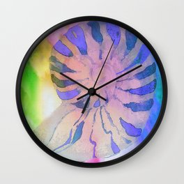 NAUTILUS SEA SHELL BLUE AND PURPLE IMPRESSIONS Wall Clock