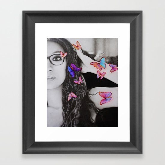 self-portrait with butterflies Framed Art Print