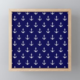 Maritime Nautical Blue and White Anchor Pattern Framed Mini Art Print