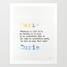 Marie Curie quote Art Print