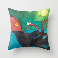Octopus and Rabbit Throw Pillow