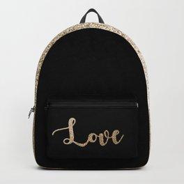 love gold glitter on black Backpack