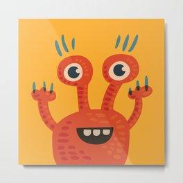 Funny Orange Happy Creature Metal Print