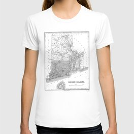 Vintage Map of Rhode Island (1827) BW T-shirt