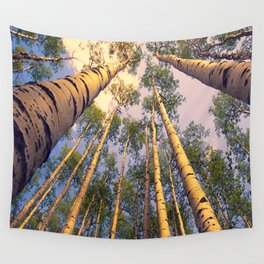 Aspen Trees Against Sky Wall Tapestry