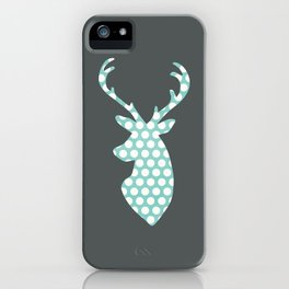 Deer head, art, polka dot, modern, vintage iPhone Case