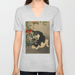 Shotei Takahashi Black & White Cat Tomato Garden Japanese Woodblock Print Unisex V-Neck
