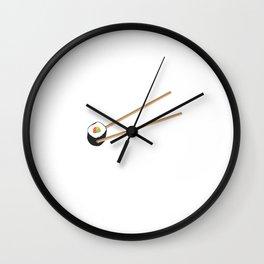Sushi roll with chopsticks Wall Clock