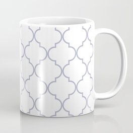 Quatrefoil - white and silver Coffee Mug