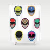 power rangers Shower Curtains featuring Rangers by Ocelotdude Designs