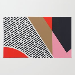 Pink Gold Red Abstract Rug