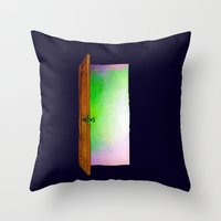 door Throw Pillows featuring Door by Brontosaurus