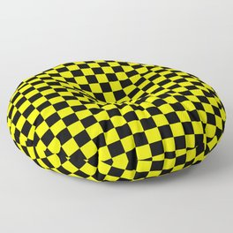 Yellow Black Checker Boxes Design Floor Pillow