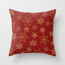 Snowflakes Red And Gold Throw Pillow