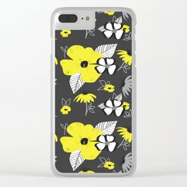 Yellow and Black Drawn Flowers on Gray Clear iPhone Case