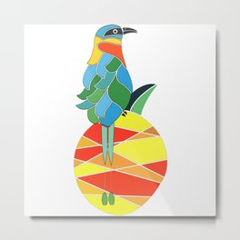 Bobo bird on a pineapple Metal Print
