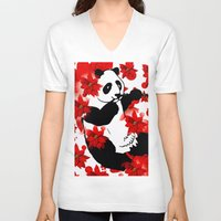 red panda V-neck T-shirts featuring Panda by Saundra Myles
