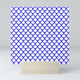 Scales (Blue & White Pattern) Mini Art Print