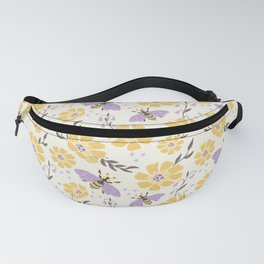 Honey Bees and Flowers - Yellow and Lavender Purple Fanny Pack