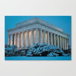 Lincoln Memorial and Snow at Twilight. Canvas Print