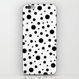 Black on White Polka Dot Pattern iPhone Skin