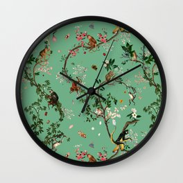Monkey World Green Wall Clock