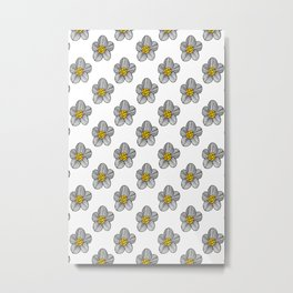 Mod Striped Flower Illustrated Pattern in Black, White, and Yellow Metal Print