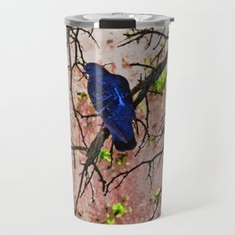 Blue Pigeon Pink Wall Bare Tree Travel Mug