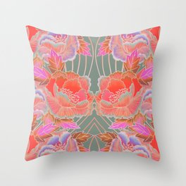 Peonies Pattern with Waves - Red, Pink, Purple, Green Throw Pillow