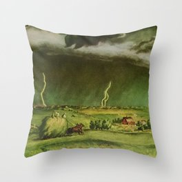 The Line Storm - Thunder and Lightning on the American Plains by John Steuart Curry Throw Pillow