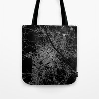 vienna Tote Bags featuring Vienna map by Line Line Lines