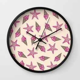 Girly Pink Summer Starfish and Ice Cream Cones Wall Clock